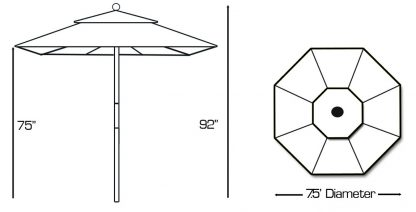 Specs for Galtech 121 7.5′ Deluxe Round Light Wood Umbrella