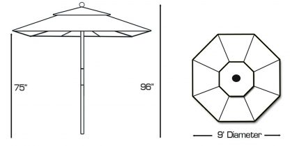 Galtech 132-232 light wood 9 foot round umbrella specs