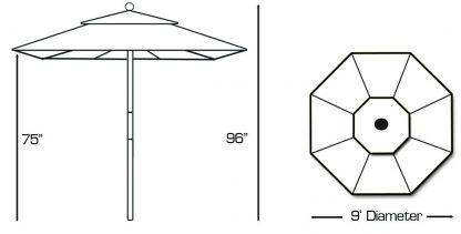 Galtech 136 9' Deluxe Round Light Wood Umbrella