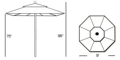 Specs for Galtech 532 9′ Deluxe Round Teak Wood Umbrella