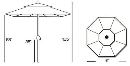 Galtech 587 11' Deluxe Round market Umbrella