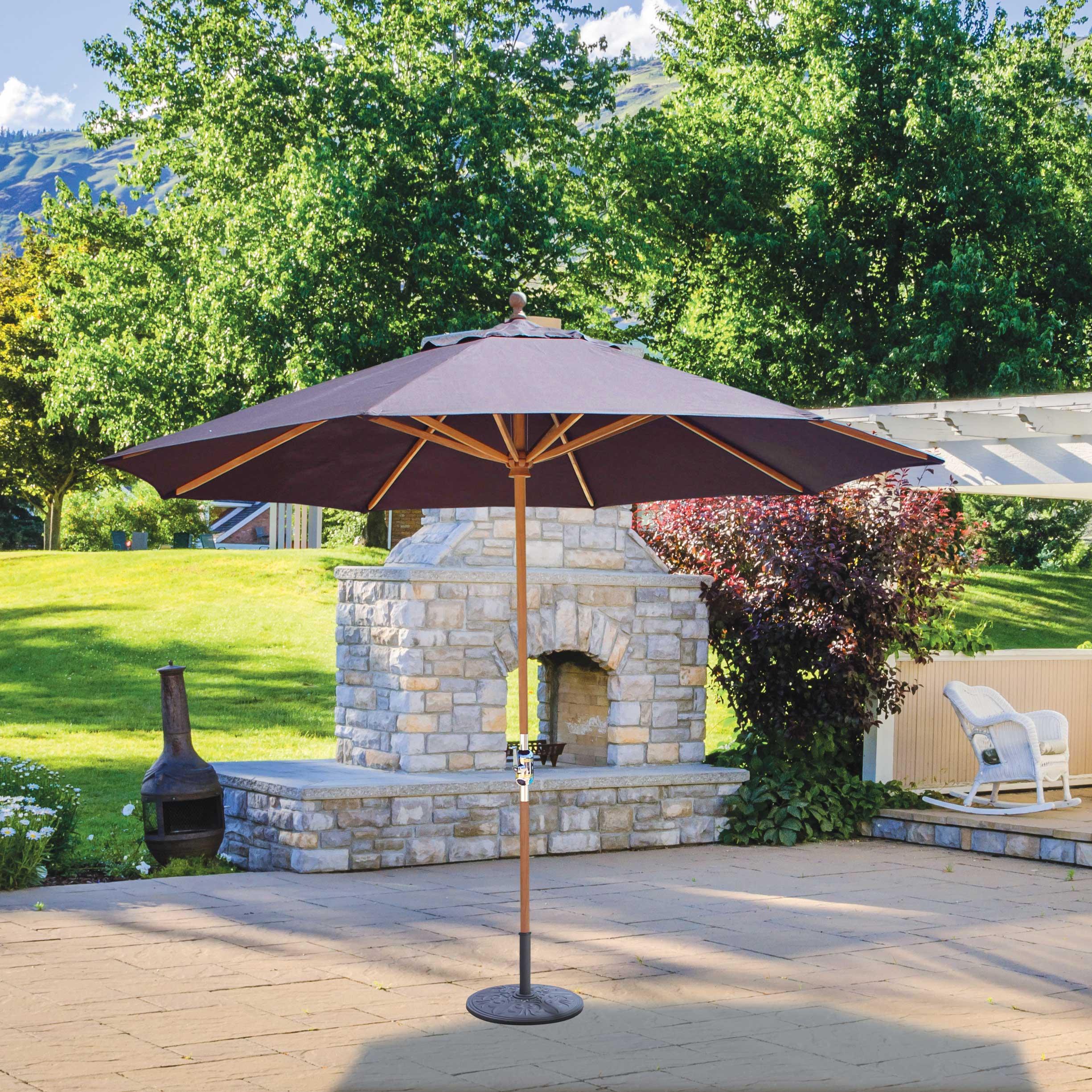 1d6851c584 Galtech 587 11' Deluxe Round Teak Market Umbrella • Umbrella Specialist