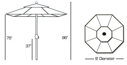 Galtech 636 9′ Round Umbrella specs