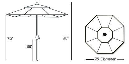 Galtech 727 7.5' Deluxe Auto Tilt Round Umbrella specs