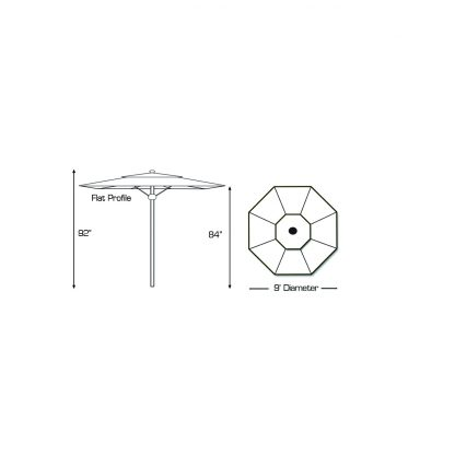 Specs for Galtech 732 9′ Round Deluxe Commercial Market Umbrella