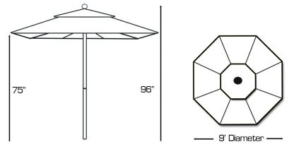 Specs for Galtech 735 9′ Round Commercial Market Umbrella