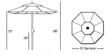 Specs for Galtech 737 9′ Round Deluxe Auto Tilt Umbrella