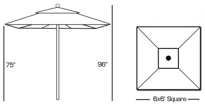 Specs for Galtech 762 6′ Square Deluxe Commercial Market Umbrella