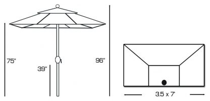 Specs for Galtech 772 3.5′ x 7′ Half Wall Market Umbrella