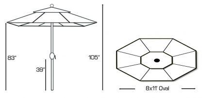 Galtech 779 8.5'x11′ Oval Deluxe Auto Tilt Umbrella Specs
