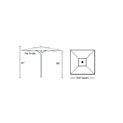 Specs for Galtech 782 8′ Square Deluxe Commercial Market Umbrella