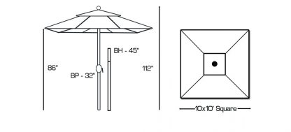 Galtech 799 10'x10' square umbrella Specs