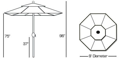Specs for Galtech | 936 9′ Round Deluxe Auto Tilt Umbrella LED Lighted
